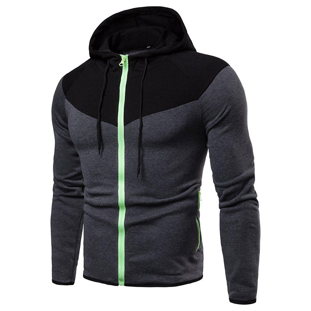 Discount Hooded Fashion Creative Stitching Men's Sweater Coat