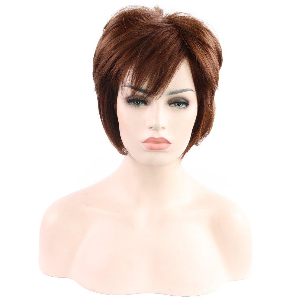 Unique Ladies Fashion and Natural Short Diagonal Bangs Wig 079