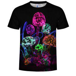 Men'S Fashion Europe and The United States 3D Printing Mushroom Map T-Shirt -