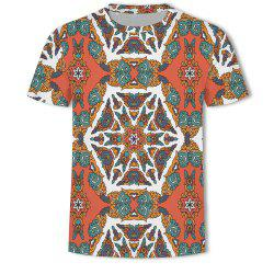 Men's New Ling-Shaped Grate 3D Printed Short-Sleeved T-Shirt -
