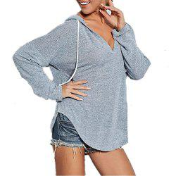 Women't V Neck Solid Color Long Sleeve Casual Loose Hooded Wild T-shirt -