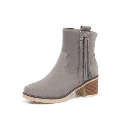 Coarse Fringed Suede Short Boots -