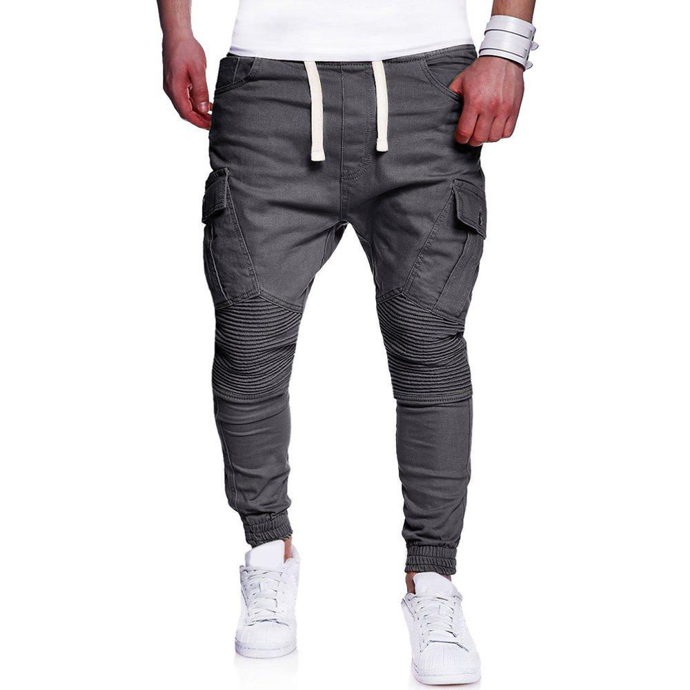 Fashion Men's Fashion Wild Solid Color Pleated Tether Belt Casual Pants