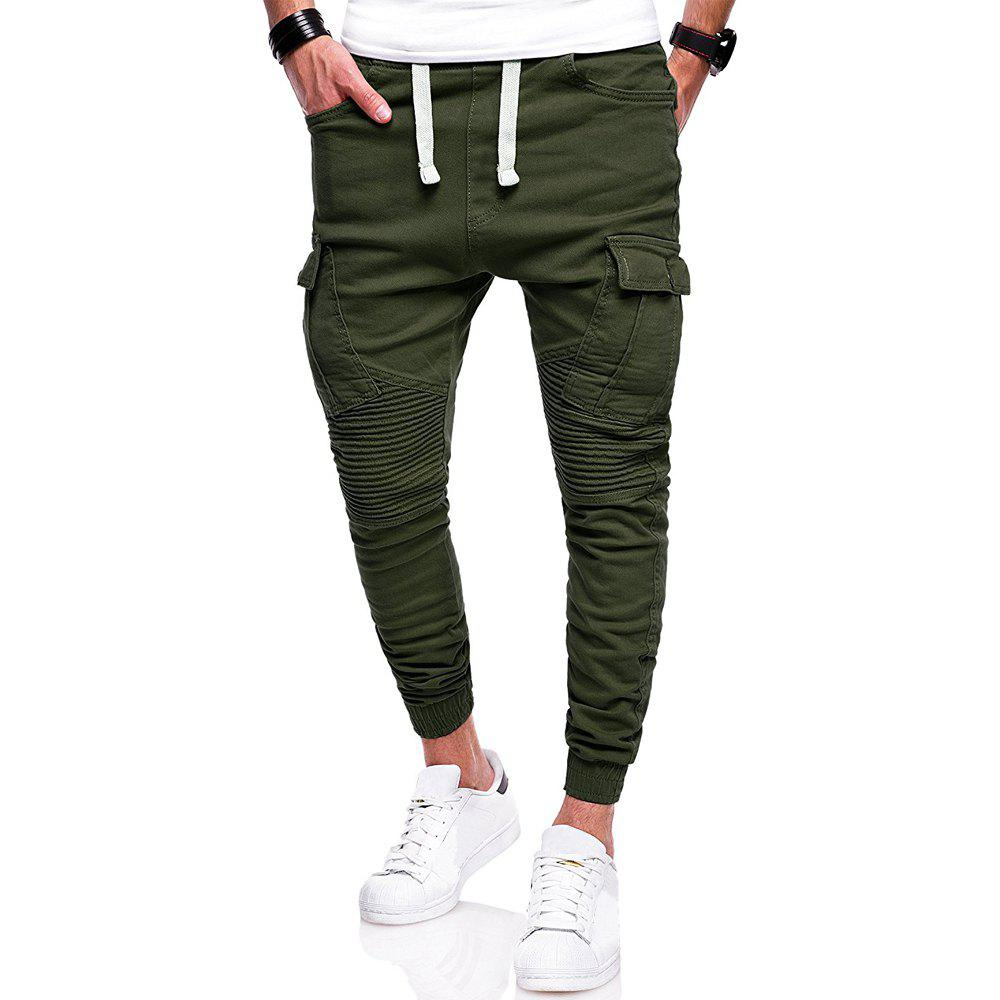 Hot Men's Fashion Wild Solid Color Pleated Tether Belt Casual Pants