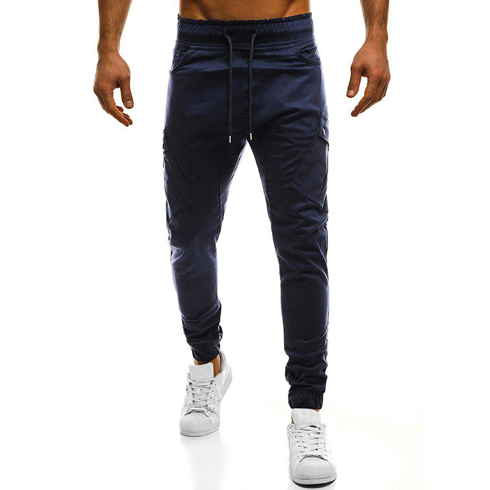 Store Men's Fashion Oblique Pockets Solid Color Large Size Casual Sweatpants