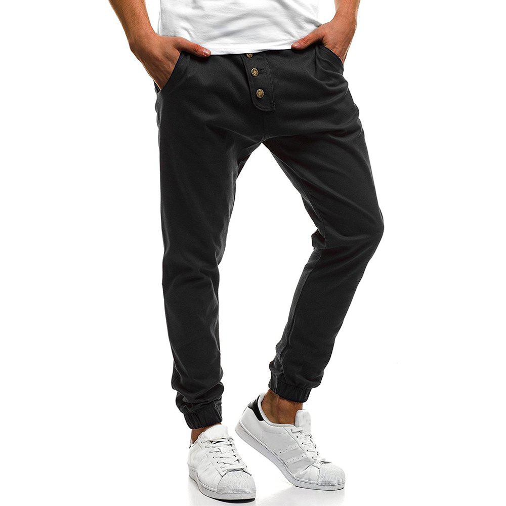 Affordable Men's Fashion Button Stitching Solid Color Beam Foot Casual Sweatpants