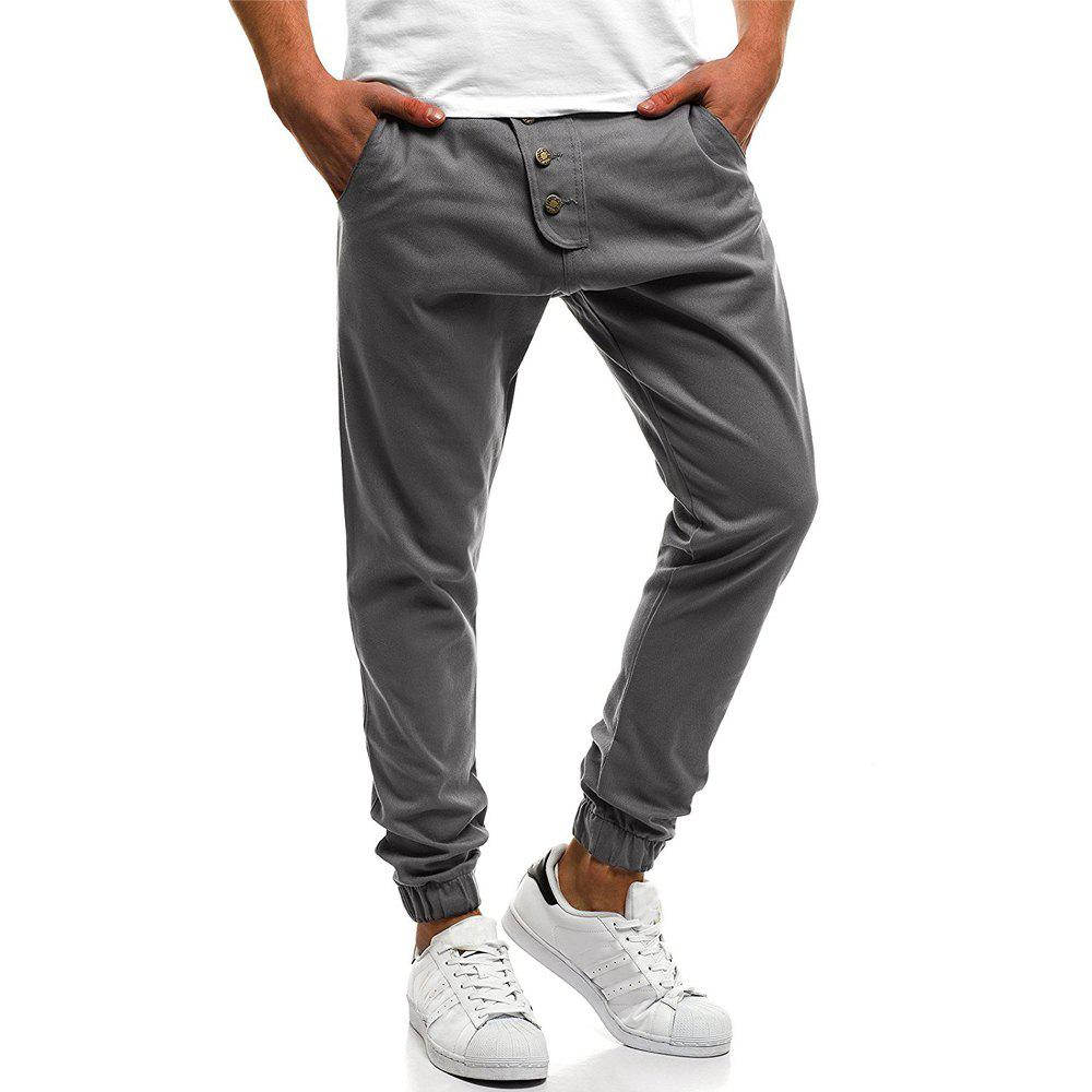 New Men's Fashion Button Stitching Solid Color Beam Foot Casual Sweatpants