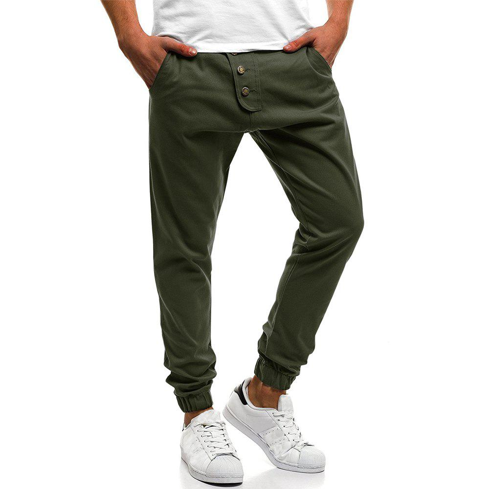 Outfits Men's Fashion Button Stitching Solid Color Beam Foot Casual Sweatpants
