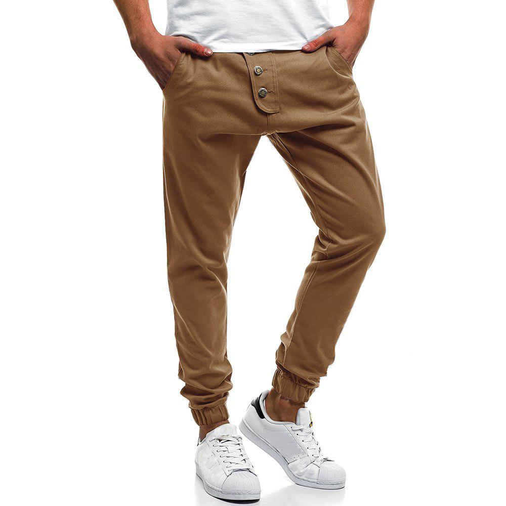 Latest Men's Fashion Button Stitching Solid Color Beam Foot Casual Sweatpants