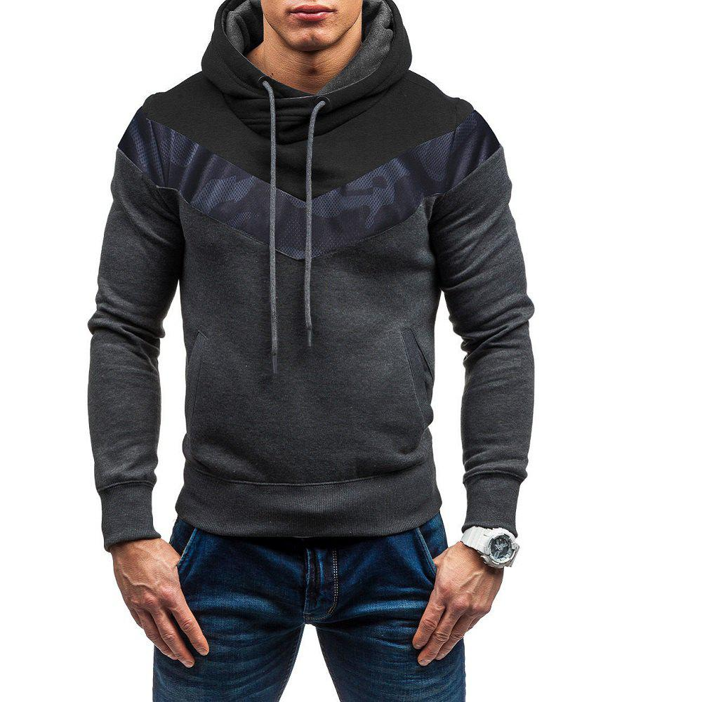 Fancy Men's Fashion Camouflage Stitching Casual Slim Sports Sweater