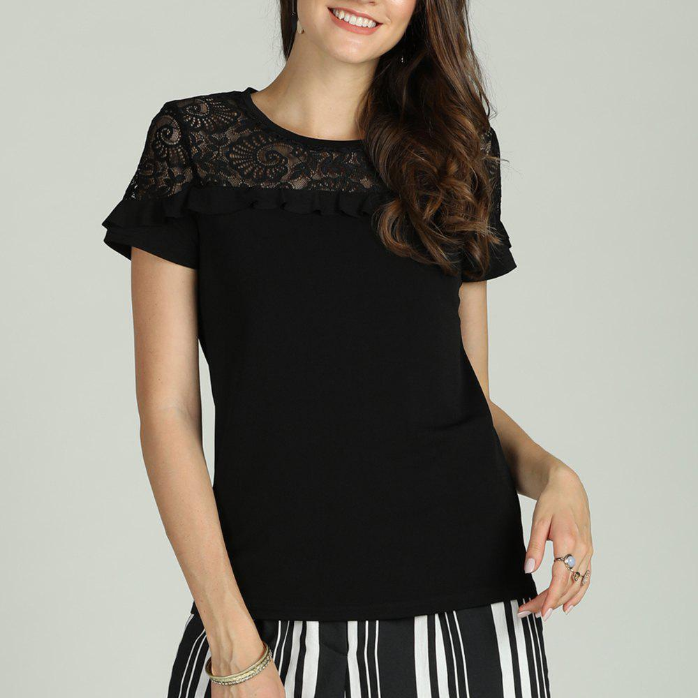 Store SBETRO Female T-Shirt Short Sleeve Lace Trim Shoulder Floral Embroidered