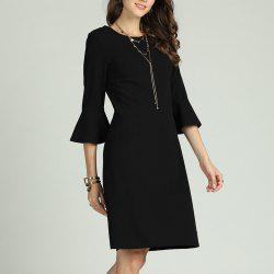 SBETRO Female Solid Casual Dress Lace Back Flare Sleeve Officewear for Ladies -