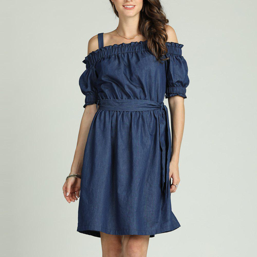 Trendy SBetro Blue Dress Off Shoulder with Waist Tie Puff Sleeve