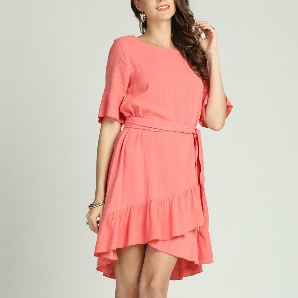 Hot SBETRO Solid A-Line Dress Fishtail Asymmetrical Short Sleeve Summer Spring