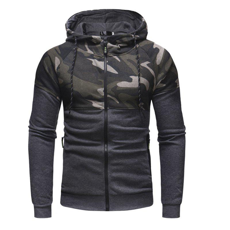 New Men'S Classic Camouflage Casual Slim Zipper Hoodie Sweater