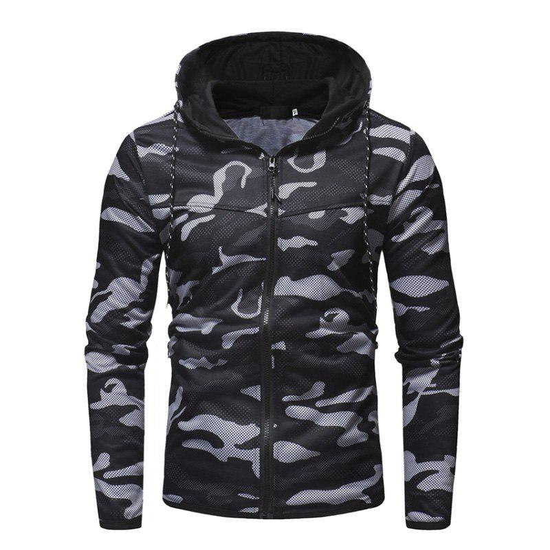 Outfit Men'S Digital Camouflage Print Casual Slim Zip Hooded Cardigan Sweater