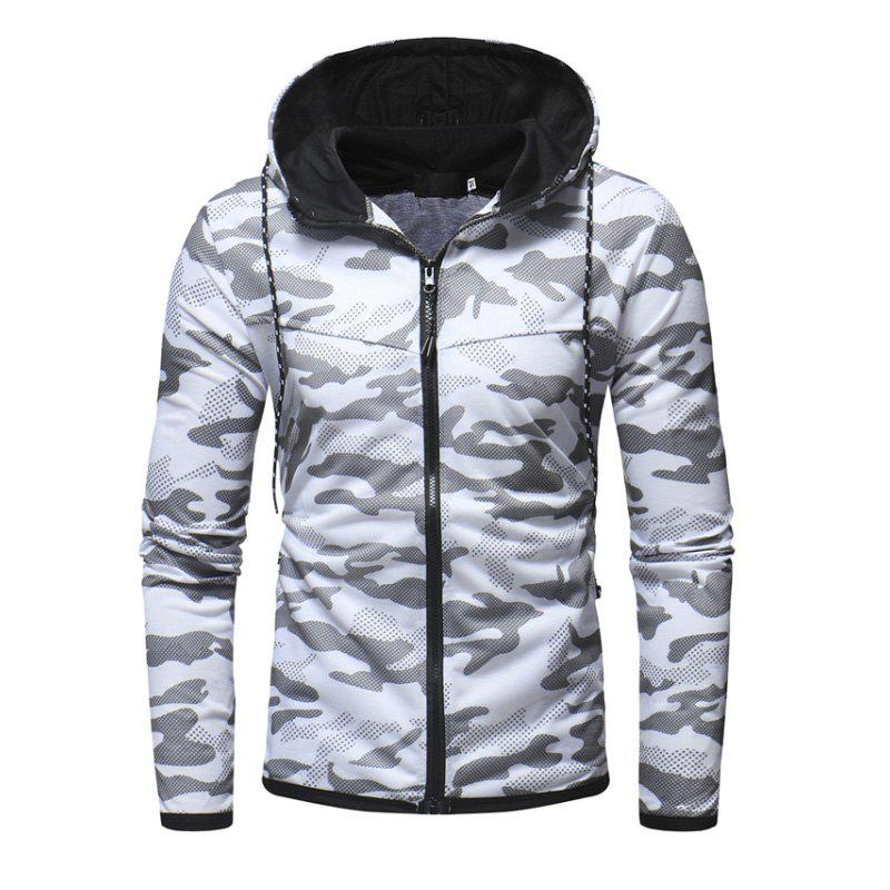 Outfits Men'S Digital Camouflage Print Casual Slim Zip Hooded Cardigan Sweater