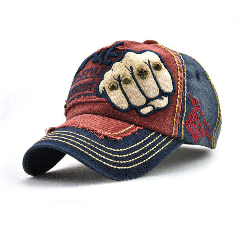 Shop Neutral Cotton Embroidery Fist Baseball Hat Letters Rivets Color Matching Hat