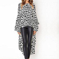 New Leopard Print Long Sleeve Irregular Dress -