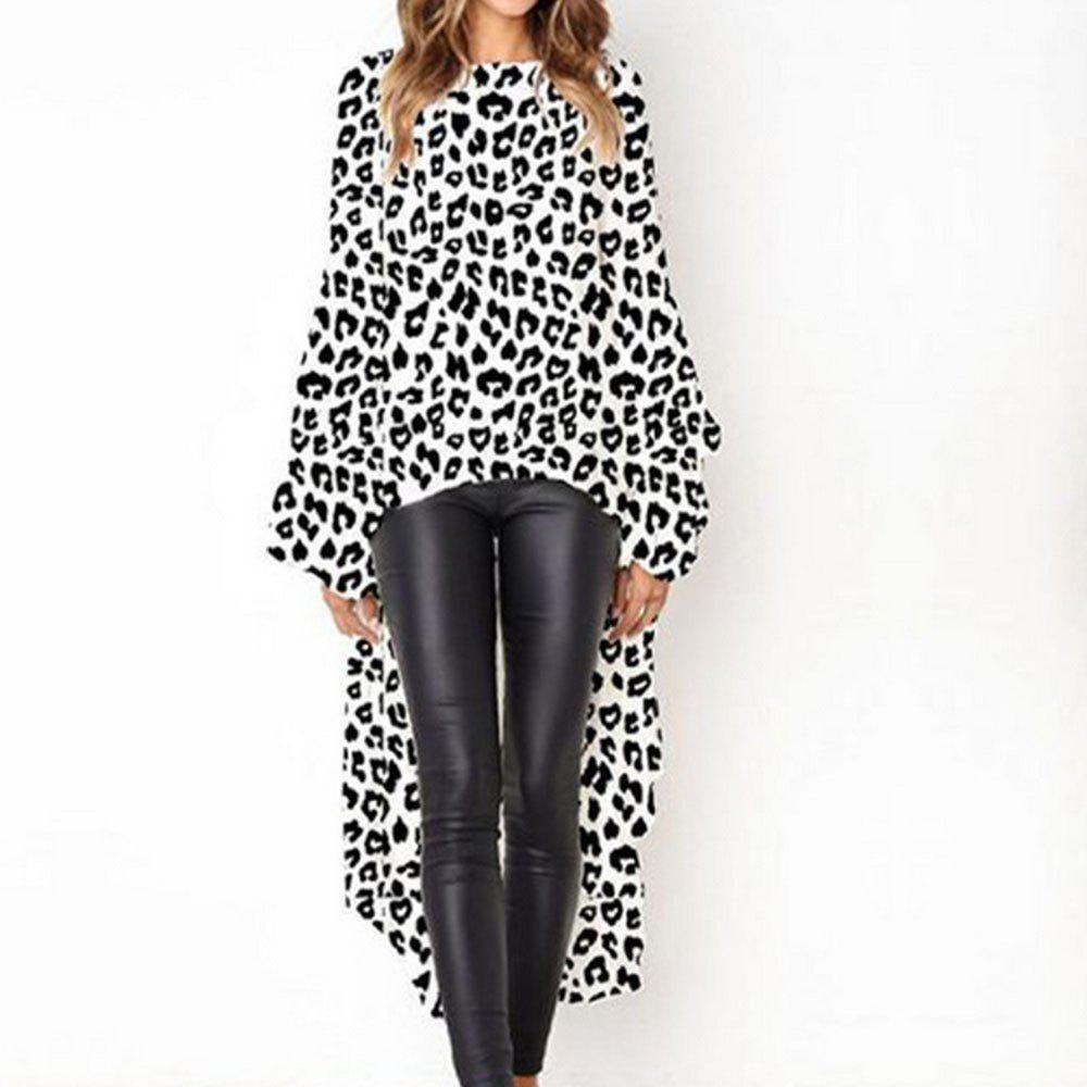 Sale New Leopard Print Long Sleeve Irregular Dress
