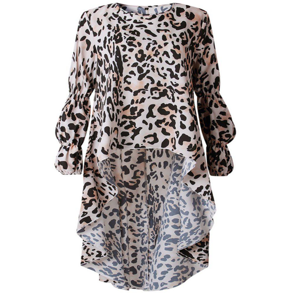 Trendy New Leopard Print Long Sleeve Irregular Dress