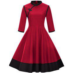 Big Swing Dress  Seven-Point Sleeve Button Collar -