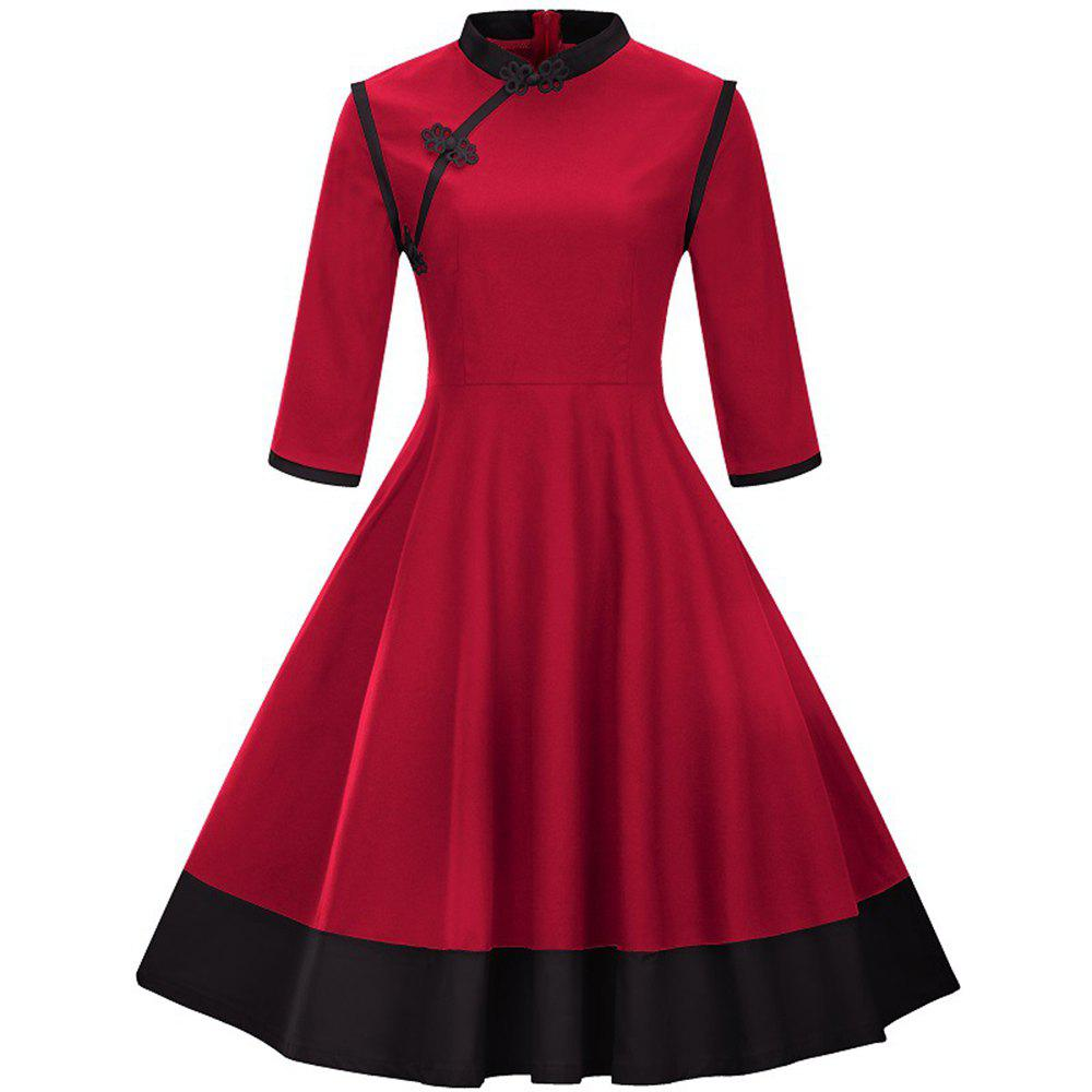 Sale Big Swing Dress  Seven-Point Sleeve Button Collar