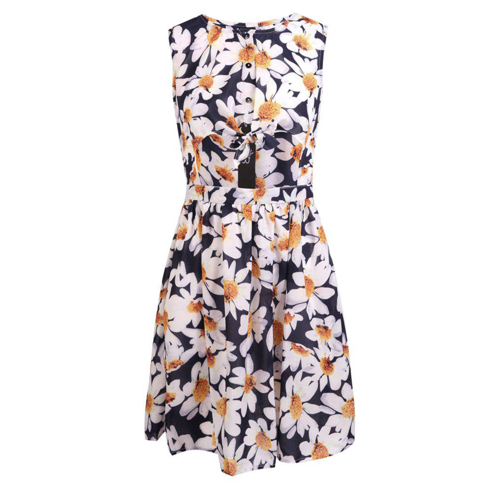 Chic HAODUOYI Women's Sweet Print Casual Sleeveless Dress Multicolor
