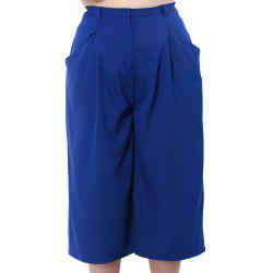KISSMILK Women'S Wide Leg Capris Pants Blue -