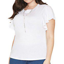 KISSMILK Women'S Ruffled Sleeves Solid Color Slim T-Shirt White -
