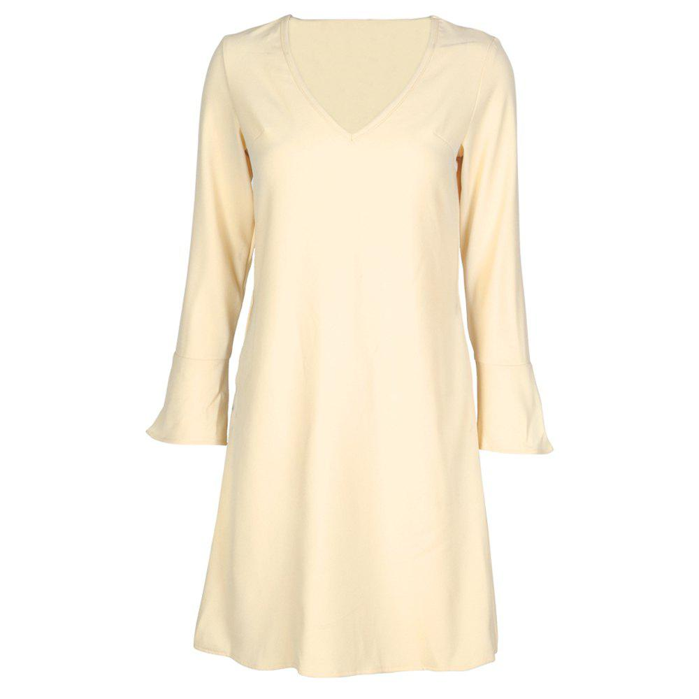 Discount HAODUOYI Women's Sexy V-Neck Solid Color Wild Flared Sleeves Dress
