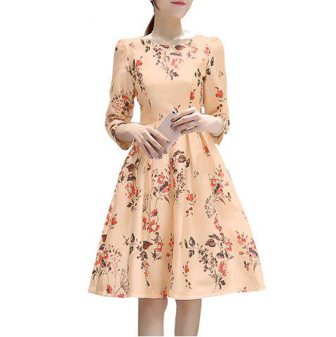 Women's A-Style Dress with Seven Cuff Sleeves