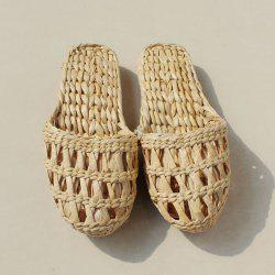 Unisex Straw Slippers Home Shoes Women Fashion Summer New Handmade Sandals -