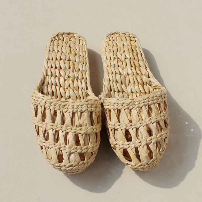 New Unisex Straw Slippers Home Shoes Women Fashion Summer New Handmade Sandals