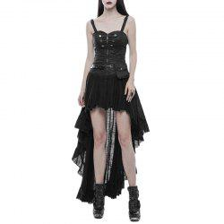 Strapless Tube Top Dress High Low Lace Pleated Dress -