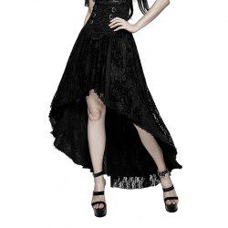 Fancy Palace Black High Waist Flower Embroidery High Low Skirt -