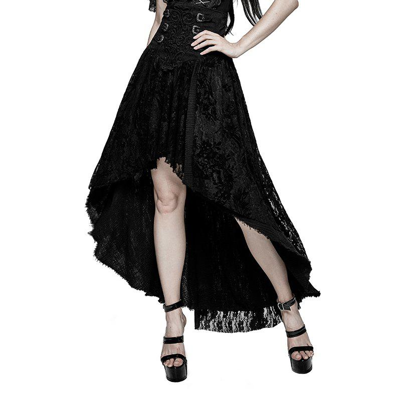 New Fancy Palace Black High Waist Flower Embroidery High Low Skirt