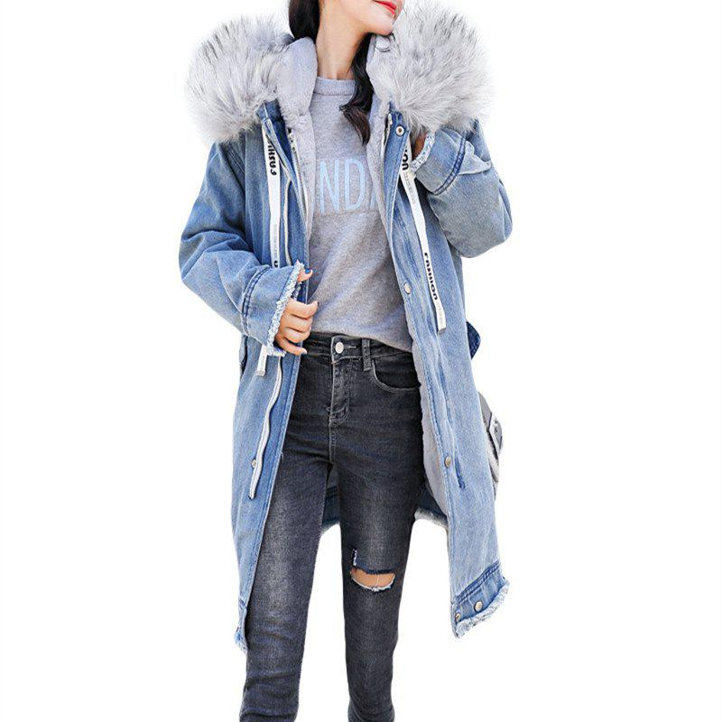 Discount Thick Warm Coat with A Big Fur Collar and Cap
