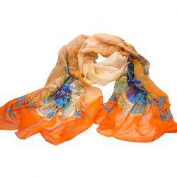 Yueor Mulberry Silk Printed Scarf 8mm Georgette Shawl -