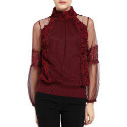 Rose High Collar Stitching Mesh Perspective Sexy Stretch Slim Knit Sweater Women -
