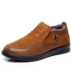 Slip On Soft Sole Wool Lining Round Toe Flat Warm Shoes For Men -