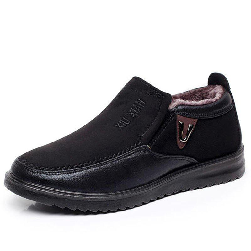 Buy Slip On Soft Sole Wool Lining Round Toe Flat Warm Shoes For Men