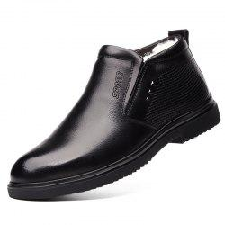 Leather Men's Shoes Business Warm Cotton Leather Shoes Men's Woolen Boots -