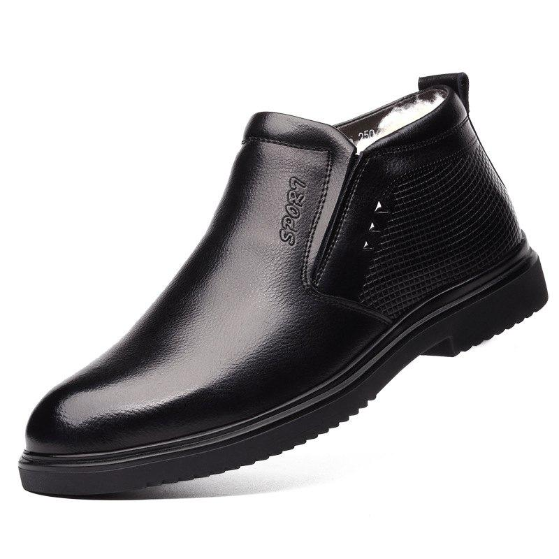 Shops Leather Men's Shoes Business Warm Cotton Leather Shoes Men's Woolen Boots