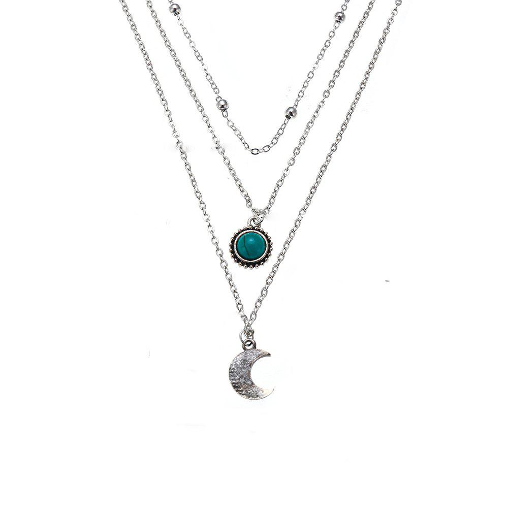 Sale Women'S Fashion Trendy Jewelry Turquoise Moon Three-Layer Necklace