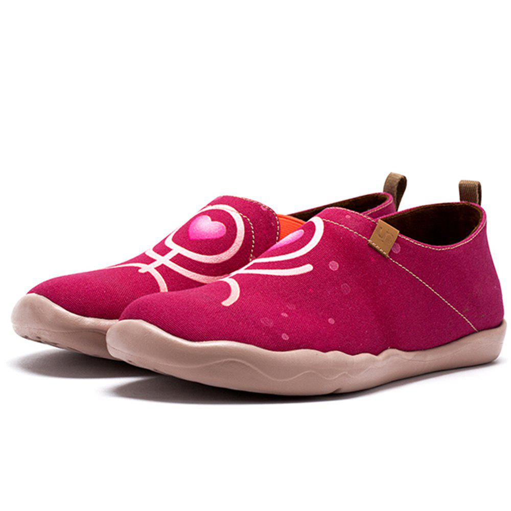 Cheap Women's Red Couple Painted Canvas Slip-On Shoes Fashion Travel Art Casual Shoes