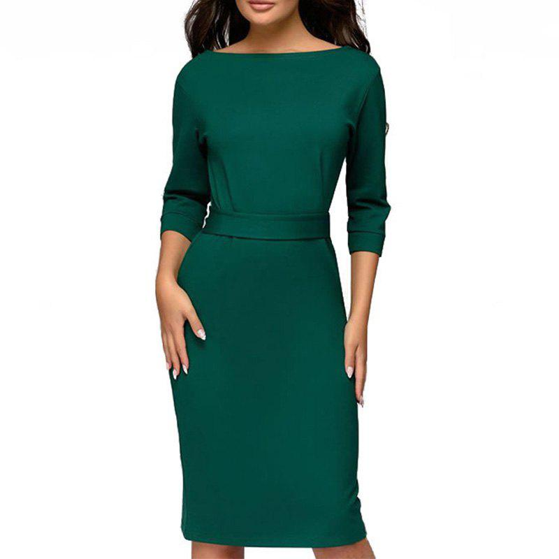 Chic Autumn Winter Ladies Dresses 2018 Work Pencil Dress Long Sleeve Midi Slim Women