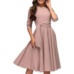 Women Dresses 2018 Solid A Line Dress Elegant Office Slim Party Dress -