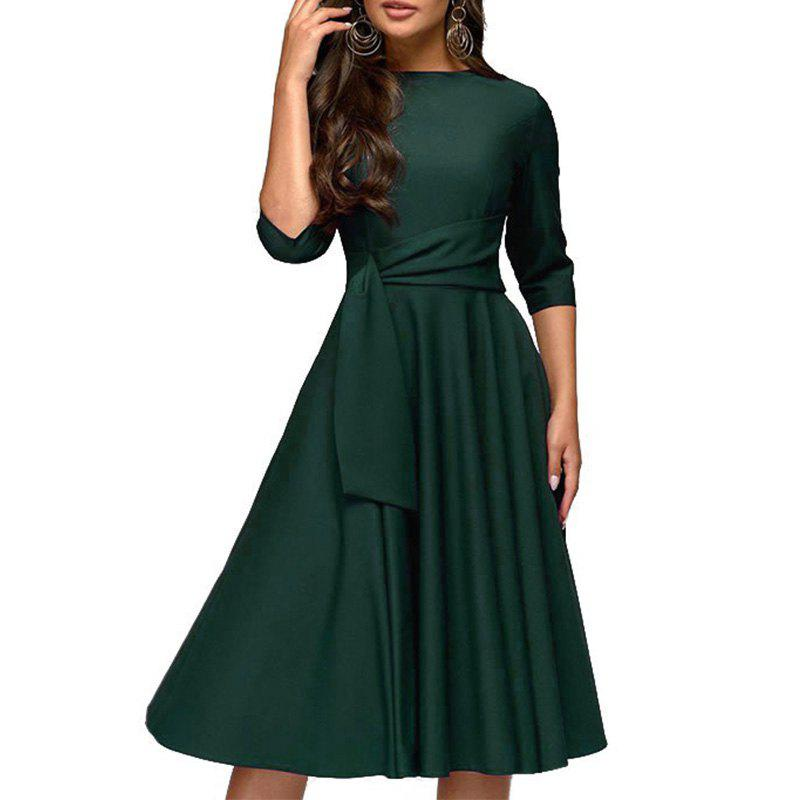 Cheap Autumn Women Dresses 2018 Solid A Line Dress Elegant Office Slim Party Dress