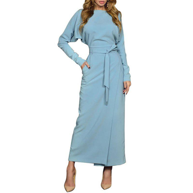 Outfits Autumn Long Party Dress Women Winter Blue Women Office Dress Style Split